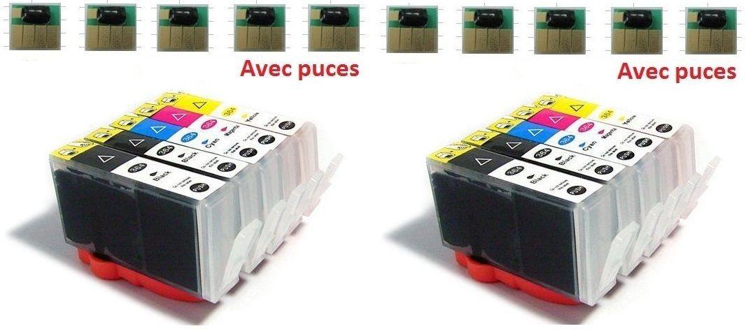 10 cartouches encres avec puce compatibles Hp Photosmart Plus 2011 B209 B210