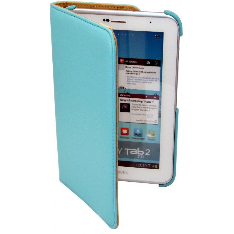 Housse bleu ciel rotatif 360°et coque support pour Samsung Galaxy Tab 2 10.1 pouce