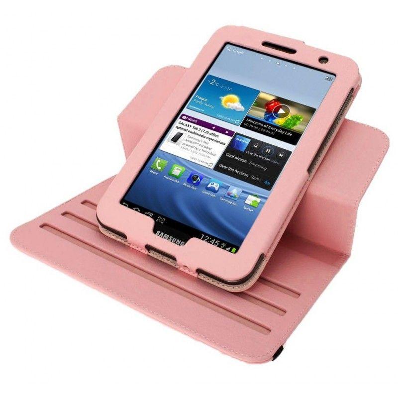 Housse rose rotatif 360°et coque support pour Samsung Galaxy Tab 2 10.1 pouce