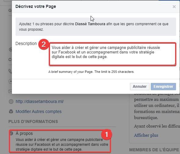 Création et optimisation d'une page Facebook