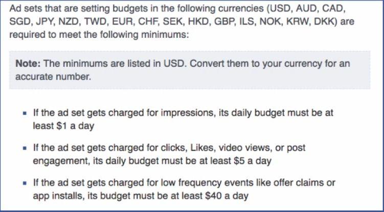 Les dépenses publicitaires minimum lors d'une campagne de publicité Facebook
