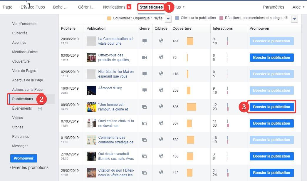 Booster une publication Facebook