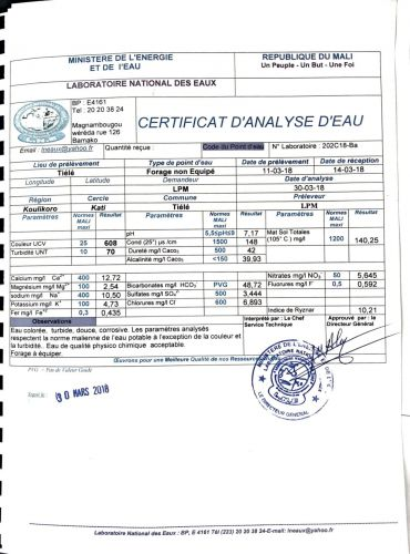 Certificat analyse eau Tiélé